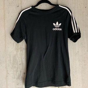 Black 3 Stripe Adidas Logo Black T-Shirt